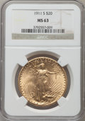 Saint-Gaudens Double Eagles: , 1911-S $20 MS63 NGC. NGC Census: (1796/1702). PCGS Population(1263/2011). Mintage: 775,750. Numismedia Wsl. Price for prob...