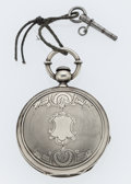 Timepieces:Pocket (pre 1900) , Swiss Sterling Silver Key Wind Hunter's Case Pocket Watch. ...