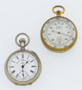 Timepieces:Pocket (post 1900), Swiss Chronograph & A Tycos Pocket Barometer. ... (Total: 2Items)