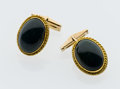 Estate Jewelry:Cufflinks, Bloodstone, Gold Cuff Links. ...