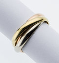 Art Glass:Daum, Tri-Color Gold Ring, Cartier. ...
