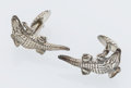 Estate Jewelry:Cufflinks, Silver, Crocodile Shaped Cuff Links. ...