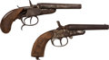 Handguns:Muzzle loading, Lot of Two Double Barrel Percussion Pistols.... (Total: 2 Items)