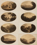 "Miscellaneous:Ephemera, Group of Eight Landscape Prints. Measuring approximately 8.25"" x4.75"", each sepia-toned, oval portrait depicts outdoor scen..."