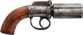 Handguns:Muzzle loading, European Pepperbox Percussion Revolver....