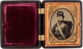 Military & Patriotic:Civil War, Great Early War 1/9 Plate Ambrotype of a Young Federal Infantryman...