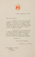 """Autographs:Non-American, William Lyon Mackenzie King Typed Letter Signed """"W. L. MackenzieKing."""" One page with integral blank, 5"""" x 8"""", on Prime ..."""