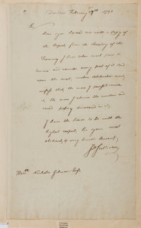 """General John Sullivan Autograph Letter Signed """"Jno Sullivan"""" as governor of New Hampshire. One page with i"""