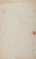 "Autographs:Celebrities, Daniel Phoenix Autograph Letter Signed. One page, 7.75"" x 12.75"",n. p., November 25, 1787, to Nathaniel G. Ingraham regardi..."