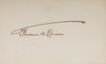 "Autographs:Inventors, Thomas A. Edison Card Signed. The famed inventor has placed his distinctive signature upon a lightly toned 4"" x 2.5"" card.. ..."