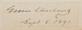 """Autographs:U.S. Presidents, Grover Cleveland Signature. 3"""" x 1"""", September 8, 1891. Cleveland is the only president to have served two non-consecutive t..."""