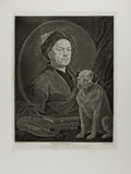"Miscellaneous:Ephemera, [William Hogarth]. Engraved Reproduction of a William HogarthPainting, ""Painter and His Pug."" 15.75"" x 22"", June 1705. Engr..."
