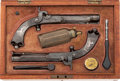 Handguns:Target / Single Shot Pistol, Pair of Unmarked Scottish Percussion Belt Pistols....