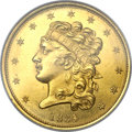 Classic Half Eagles, 1834 $5 Plain 4 MS64 NGC. McCloskey 4-C, R.2....