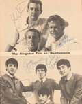 Music Memorabilia:Autographs and Signed Items, Beatles and the Kingston Trio Signed Hootenanny Magazine Article (New York, 1964)....