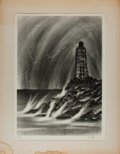Miscellaneous:Ephemera, Richard Florsheim. SIGNED Lithograph. Lighthouse. Limited to250 impressions of which this is number 32. Signed ...
