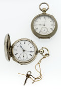 Timepieces:Pocket (pre 1900) , Two Swiss Key Wind 18 Size Pocket Watches. ... (Total: 2 Items)