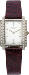 "Estate Jewelry:Watches, Patek Philippe Lady's Diamond, White Gold, Leather Strap ""Gondolo"" Wristwatch, retailed by Tiffany & Co.. ..."