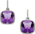 Estate Jewelry:Pendants and Lockets, Amethyst, Diamond, White Gold Earrings. ...