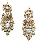 Estate Jewelry:Earrings, Antique Diamond, Ruby, Gold Earrings. ...