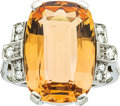 Estate Jewelry:Rings, Art Deco Topaz, Diamond, Platinum Ring. ...