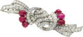 Estate Jewelry:Brooches - Pins, Star Ruby, Diamond, Platinum Double-Clip-Brooch. ...