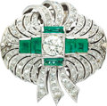 Estate Jewelry:Brooches - Pins, Diamond, Emerald, White Metal Brooch. ...