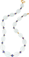Estate Jewelry:Necklaces, Chalcedony, Tanzanite, Diamond, Gold Necklace. ...