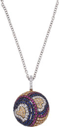 Estate Jewelry:Necklaces, Sapphire, Ruby, Diamond, White Gold Pendant-Necklace. ...