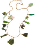 Estate Jewelry:Necklaces, Nephrite Jade, Gold Necklace. ...