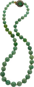 Estate Jewelry:Necklaces, Jadeite Jade, Emerald, Diamond, Silver-Topped Gold Necklace. ...