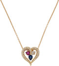 Estate Jewelry:Necklaces, Diamond, Ruby, Sapphire, Gold Necklace. ...