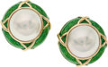 Estate Jewelry:Earrings, Mabe Pearl, Enamel, Gold Earrings, Tiffany & Co.. ...