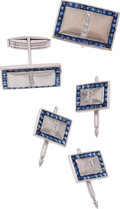 Estate Jewelry:Cufflinks, Gentleman's Sapphire, Diamond, White Gold Dress Set. ... (Total: 5 Items)