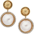 Estate Jewelry:Earrings, Mabe Pearl, Diamond, Gold Earrings, Gucci. ...