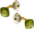 Estate Jewelry:Cufflinks, Diamond, Peridot, Rock Crystal Quartz, Gold Cuff Links, Trianon....