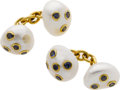 Estate Jewelry:Cufflinks, Freshwater Cultured Pearl, Sapphire, Gold Cuff Links, Trianon. ...