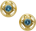 Estate Jewelry:Earrings, Blue Topaz, Gold Earrings, Carol Silvera. ...