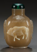 Asian:Chinese, A CHINESE CARVED HARDSTONE SNUFF BOTTLE. Circa 1900. 2-3/4 incheshigh (7.0 cm). ...