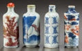 Asian, FOUR CHINESE PORCELAIN SNUFF BOTTLES. Circa 1900. 3 inches high(7.6 cm). ... (Total: 4 Items)