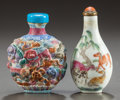 Asian:Chinese, TWO CHINESE PORCELAIN SNUFF BOTTLES. Circa 1900. 2-3/4 inches high(7.0 cm) (taller). ... (Total: 2 Items)