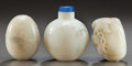 Asian:Chinese, THREE CHINESE CARVED HARDSTONE SNUFF BOTTLES. Circa 1900. 2-3/4inches high (7.0 cm). ... (Total: 3 Items)