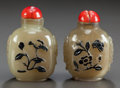 Asian:Chinese, TWO CHINESE CARVED HARDSTONE SNUFF BOTTLES. Circa 1900. 2-1/2inches high (6.4 cm). ... (Total: 2 Items)