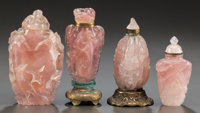 FOUR CHINESE CARVED ROSE QUARTZ SNUFF BOTTLES Circa 1900 4 inches high (10.2 cm)