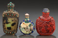 Asian, THREE CHINESE COMPOSITE, CINNABAR AND CLOISONNÉ SNUFF BOTTLES.Circa 1900. 3-3/4 inches high (9.5 cm). ... (Total: 3 Items)