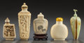 Asian, FIVE CHINESE CARVED BONE SNUFF BOTTLES. Circa 1900. 3-1/2 incheshigh (8.9 cm). ... (Total: 5 Items)