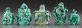 Asian, FIVE CHINESE CARVED TURQUOISE SNUFF BOTTLES. Circa 1900. 2-1/2inches high (6.4 cm). ... (Total: 5 Items)