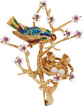 Estate Jewelry:Brooches - Pins, Ruby, Cultured Pearl, Enamel, Gold Brooch. ...