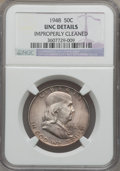 Franklin Half Dollars, 1948 50C -- Improperly Cleaned -- NGC Details. UNC. 1948 50C --Obverse Improperly Cleaned -- NGC Details. UNC. NGC Census...(Total: 2 coins)