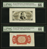 Fr. 1291sp 25¢ Third Issue Wide Margin Pair PMG Gem Uncirculated 66 EPQ